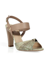 Beige Python Sandal with Big Stud