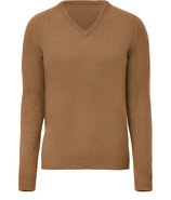 Camel V-Neck Wool Sweater