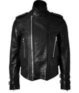 Black Grainy Leather Biker Jacket