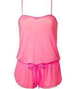 Light Helium Pink Romper with Lace Trim