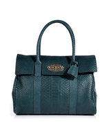Petrol Silky Snake Print Leather Bayswater Bag