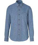 Indigo Cotton Oxford Button-Down Shirt