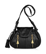 Black Leather Porte Epaule Drawstring Bag