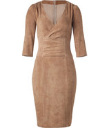 Camel Stretch Leather Dress