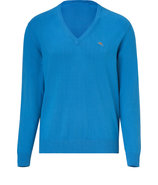 Caribbean Blue Cotton V-Neck Pullover