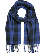 Royal Blue and Black Plaid Cotton Scarf