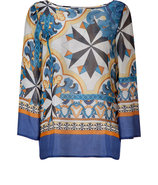 Blue-Multi Printed Silk Top