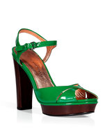Grass green patent leather platform sandals