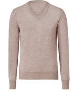 Light Pewter Beige Heather Wool Feniton V-Neck Pul