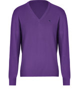 Lilac Cotton V-Neck Pullover