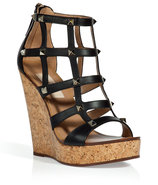 Black Rock Stud Cage Wedge Sandals
