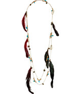 Multicolor Feather Shell Tribal Necklace