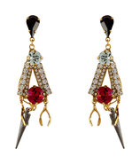 Gold-Plated Tribal Charm Earrings
