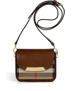 Dark Tan Bridle Leather House Check Crossbody Bag