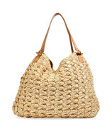Textural Woven Raffia Tote with Leather Handles