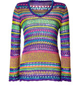 Lilac-Multi Open Knit Pullover