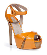 Orange Patent Leather Platform Sandals