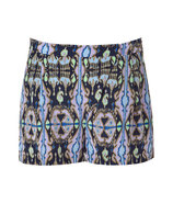 Navy Multicolor Printed Silk Shorts