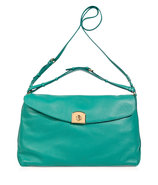Turquoise Grainy Leather Satchel