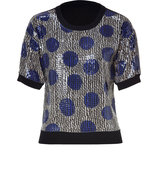 Black-Multi Sequined Knit Top