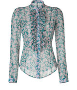 Jade/Opal Floral Print Ruffled Silk Top