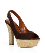 Ebony Suede and Cork Platform Sandals