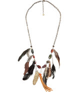 Brown stone and leather necklace