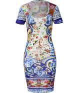 Blue-Multi Mixed Print Dress