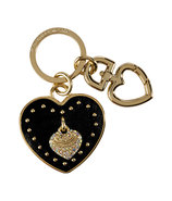 Black Leather Heart Key Fob