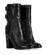 Black Studded Leather Half Boots