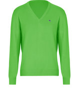 Green Cotton V-Neck Pullover