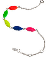 Silver/Enamel 5 Lips Bracelet