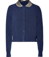 Normandy Blue Heather Wool-Blend Mika Cardigan wit