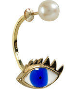 Gold/Pearl/Enamel Eye Single Earring