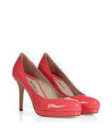 Salmon Patent Leather Mid Heel Platform Pumps