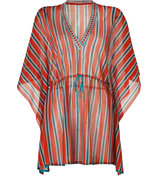 Saffron/Aquamarine Stripe Short Caftan