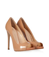 Nude Patent Leather Open Toe Pumps