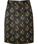 Black/Cinnamon Pattern Pencil Skirt
