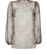 Sheer Snakeskin Patterned Silk Top