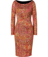 Salmon Bamboo Print Silk Jersey Dress