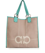 Almond/Turquoise Fabric/Leather Joanna Tote