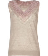 Rosebud sleeveless linen top