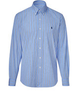 Blue and royal stripe poplin custom fit shirt