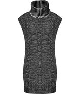 Black and White Long Knit Turtleneck