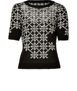 Black/Ivory Sequined Knit Top