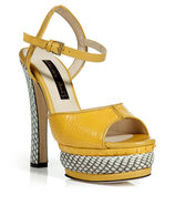 Yellow and White Python Platform Sandals