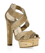 Taupe Cork Platform Sandals