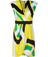 Yellow Multi Silk V-Neck Connecticut Print Wrap Dr