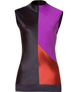 Black Multi Color Silk Top