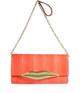 Bright Coral Snakeskin Carolina Lips Clutch